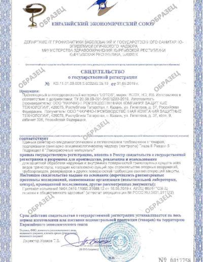 Свидетельство о государственной регистрации продукции, офрмляемый по результатам экспертизы характеристик и показателей продукции в области гигиенических и эпидемиологических норм и требований России и других стран ЕАЭС